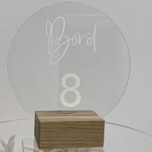 Bordnummer rundt akryl