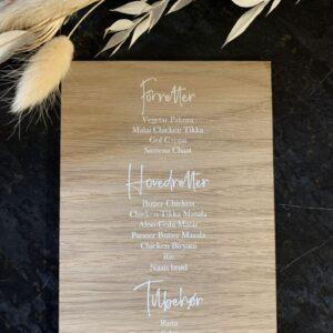 menukort i træ