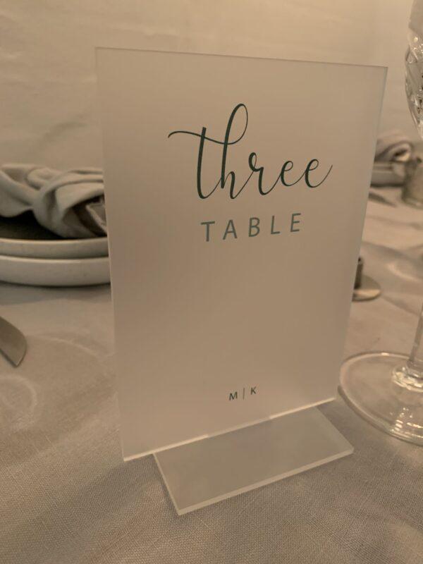 Menukort på bordet