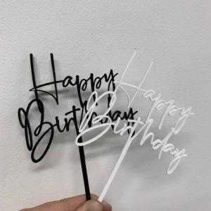 Cake topper happy birthday hvid og sort
