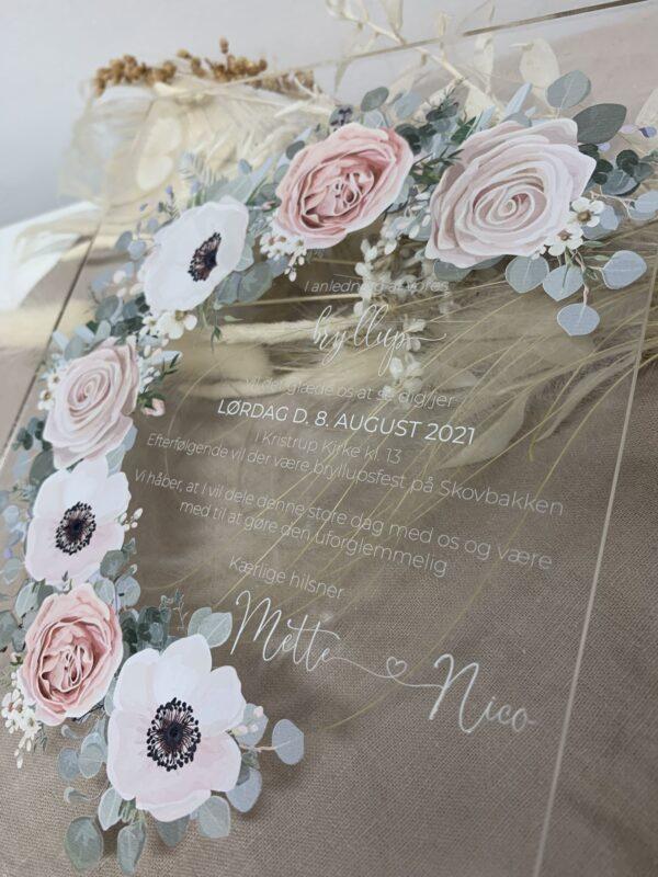 invitationer anemonekrans rosa