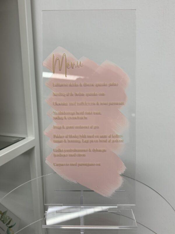 menukort pink akryl