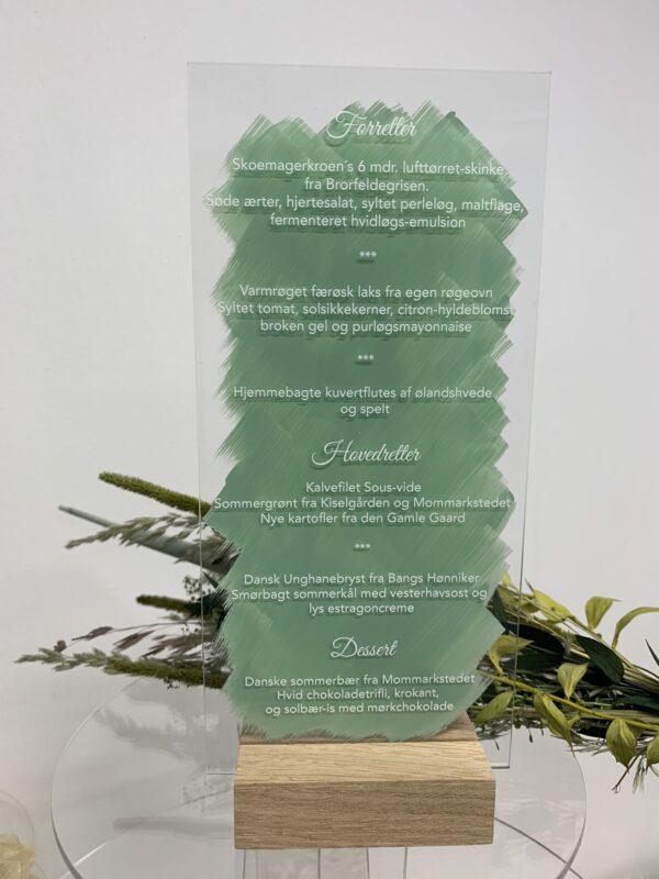menukort grøn akryl